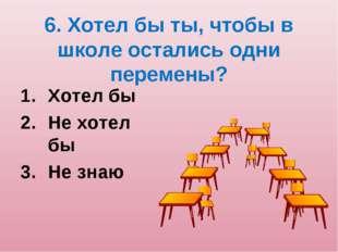 6. Хотел бы ты, чтобы в школе остались одни перемены? Хотел бы Не хотел бы Не
