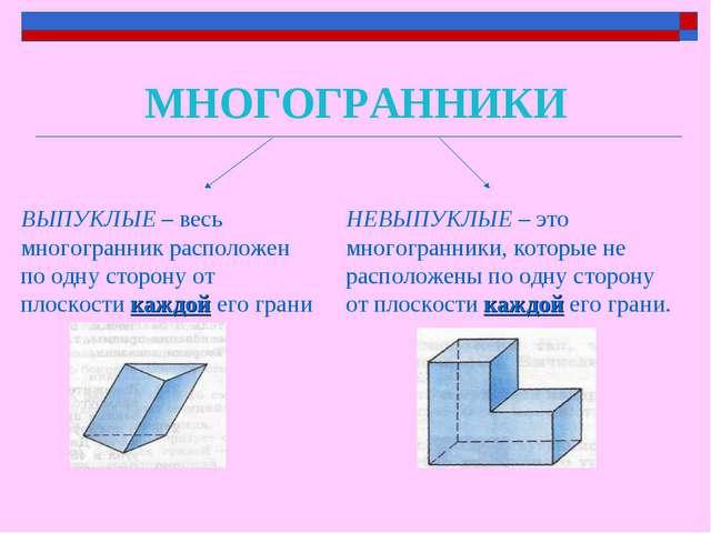 МНОГОГРАННИКИ ВЫПУКЛЫЕ – весь многогранник расположен по одну сторону от плос...