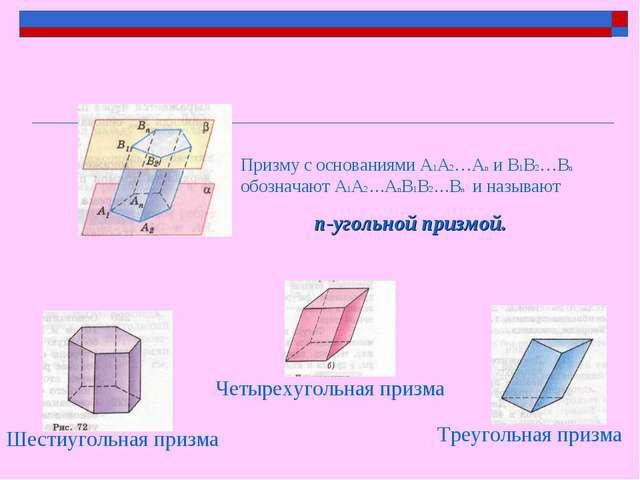 Призму с основаниями A1A2…An и В1В2…Вn обозначают A1A2…AnВ1В2…Вn и называют n...