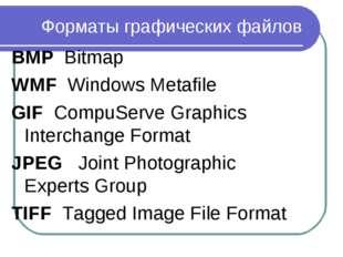 Форматы графических файлов BMP Bitmap WMF Windows Metafile GIF CompuServe Gra