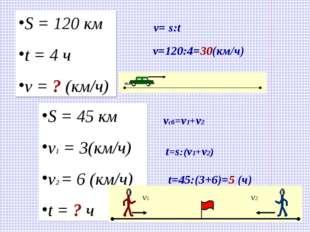S = 120 км t = 4 ч v = ? (км/ч) v= s:t v=120:4=30(км/ч) S = 45 км v1 = 3(км/ч