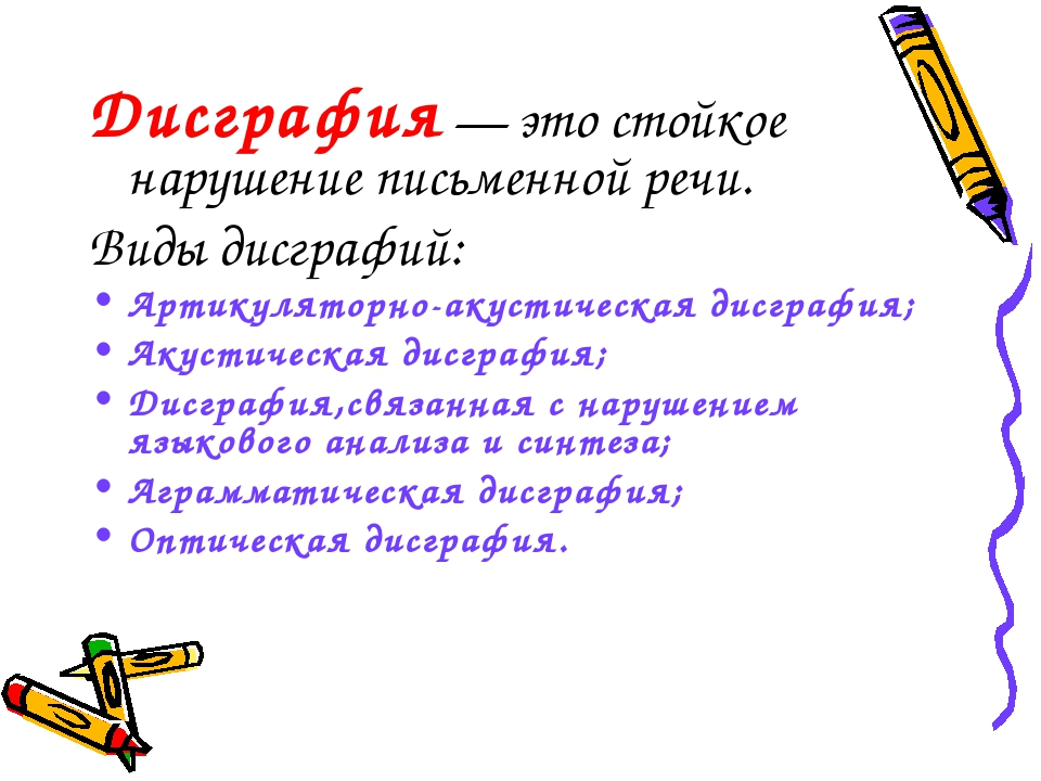 Дисграфия — это стойкое нарушение письменной речи. Виды дисграфий: Артикулято...