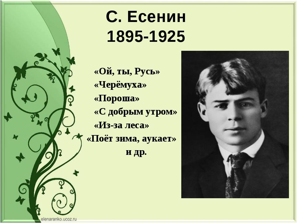 С. Есенин 1895-1925 «Ой, ты, Русь» «Черёмуха» «Пороша» «С добрым утром» «Из-з...