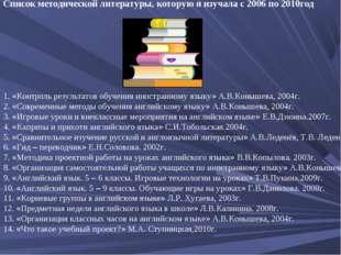 Список методической литературы, которую я изучала с 2006 по 2010год 1. «Контр