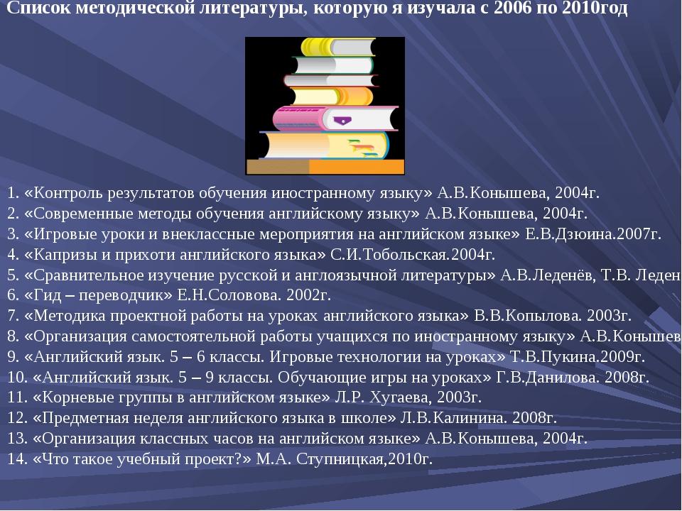 Список методической литературы, которую я изучала с 2006 по 2010год 1. «Контр...