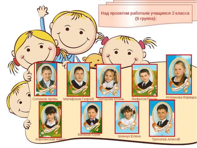 Над проектом работали учащиеся 2 класса (II группа): Сотников Артём Матафонов...