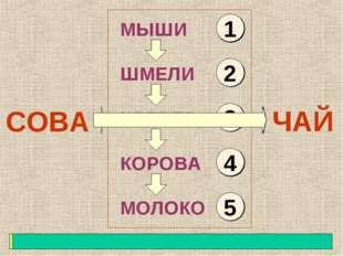 СОВА МЫШИ ШМЕЛИ КЛЕВЕР КОРОВА МОЛОКО ЧАЙ 1 2 3 4 5