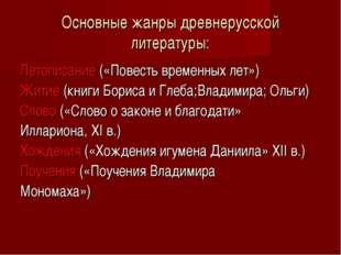 Основные жанры древнерусской литературы: Летописание («Повесть временных лет