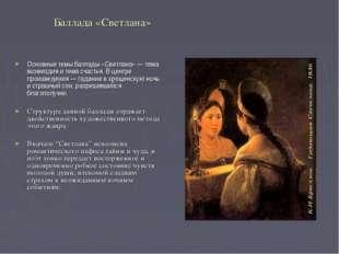 Баллада «Светлана» Основные темы баллады «Светлана» — тема возмездия и тема с