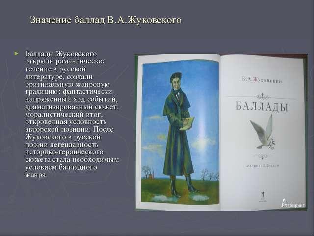 Значение баллад В.А.Жуковского Баллады Жуковского открыли романтическое течен...
