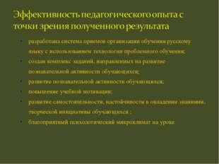 разработана система приемов организации обучения русскому языку с использован