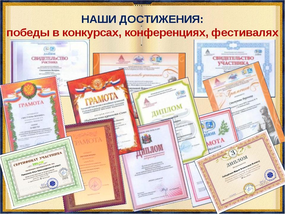 НАШИ ДОСТИЖЕНИЯ: победы в конкурсах, конференциях, фестивалях