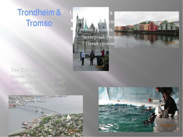 Trondheim & Tromso Two T-Towns are not similar. Trondhiem is the old capital...