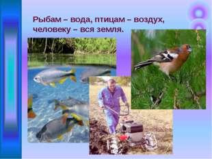 Рыбам – вода, птицам – воздух, человеку – вся земля.