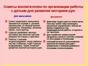 Советы воспитателям по организации работы с детьми для развития моторики рук