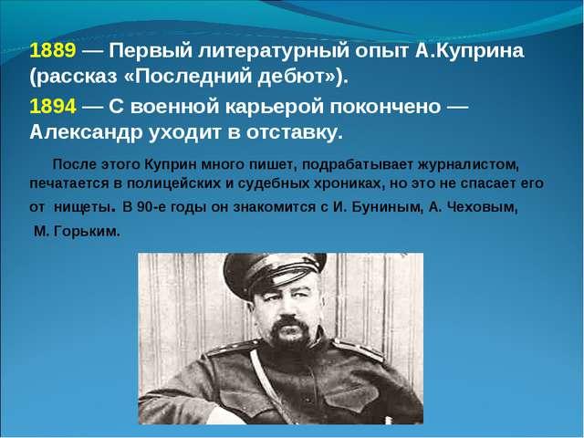 1889 — Первый литературный опыт А.Куприна (рассказ «Последний дебют»). 1894 —...