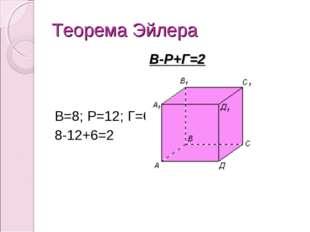 Теорема Эйлера В-Р+Г=2 В=8; Р=12; Г=6 8-12+6=2