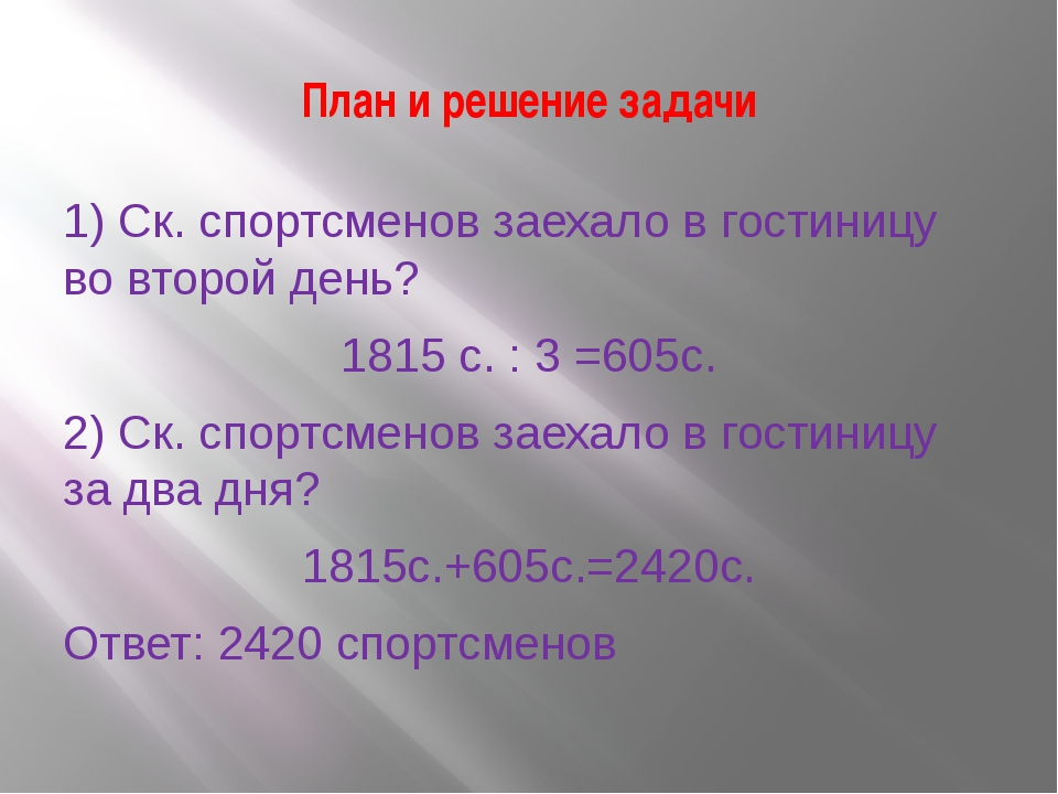 План и решение задачи 1) Ск. спортсменов заехало в гостиницу во второй день?...