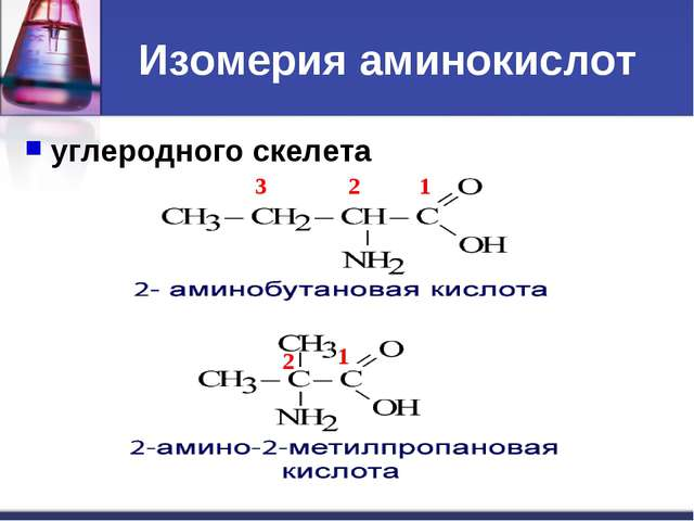 Изомерия аминокислот углеродного скелета 1 2 3 1 2