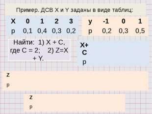 Пример. ДСВ X и Y заданы в виде таблиц: Найти: 1) Х + С, где С = 2; 2) Z=X +