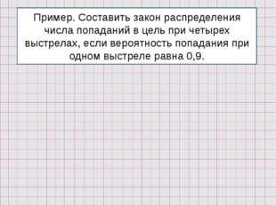 Пример. Составить закон распределения числа попаданий в цель при четырех выст