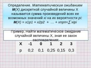 Определение. Математическим ожиданием М(Х) дискретной случайной величины Х на