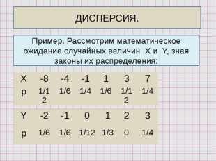 ДИСПЕРСИЯ. Пример. Рассмотрим математическое ожидание случайных величин X и Y