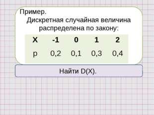 Пример. Дискретная случайная величина распределена по закону: Найти D(X). Х
