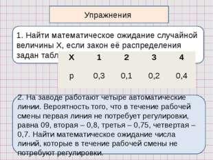1. Найти математическое ожидание случайной величины Х, если закон её распреде