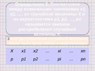 Определение 3. Соответствие между возможными значениями х1, х2, …, хn случайн