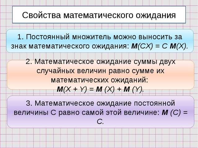 Свойства математического ожидания 1. Постоянный множитель можно выносить за з...