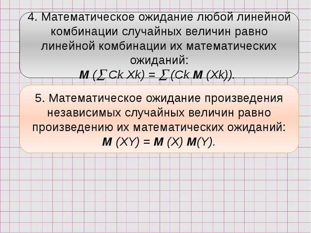 4. Математическое ожидание любой линейной комбинации случайных величин равно...