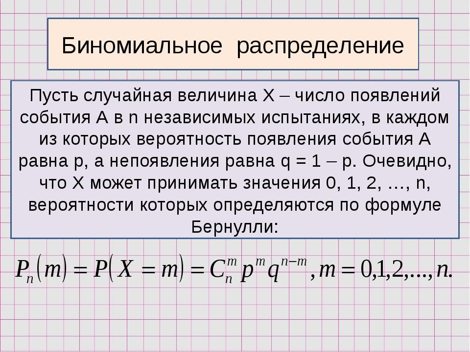 Биномиальное распределение Пусть случайная величина Х – число появлений событ...