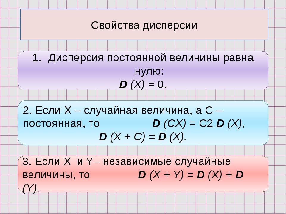 Свойства дисперсии Дисперсия постоянной величины равна нулю: D (X) = 0. 2. Ес...