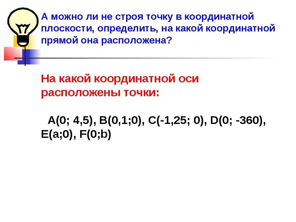 А можно ли не строя точку в координатной плоскости, определить, на какой коор...