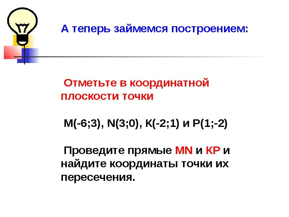 А теперь займемся построением: Отметьте в координатной плоскости точки M(-6;3...