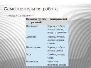 Самостоятельная работа Тетрадь с.32, задание 44 Название группы растений Част