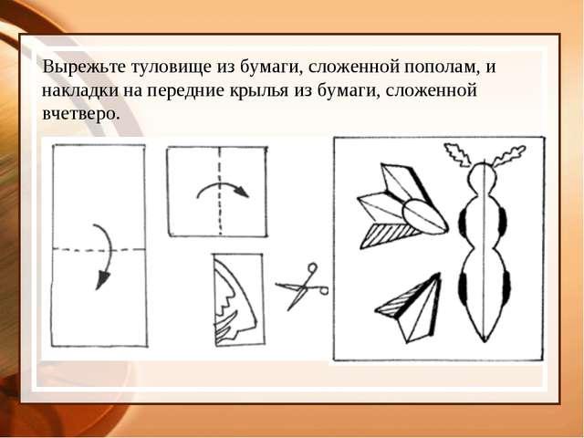 Вырежьте туловище из бумаги, сложенной пополам, и накладки на передние крылья...