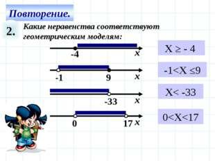 2. Какие неравенства соответствуют геометрическим моделям: X ≥ - 4 -1