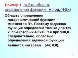 Пример 1. Найти область определения функции y=log8(4-5x) Область определения