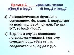 Пример 2. Сравнить числа: а)log35 и log37; б) log1/35 и log1/37 Логарифмическ