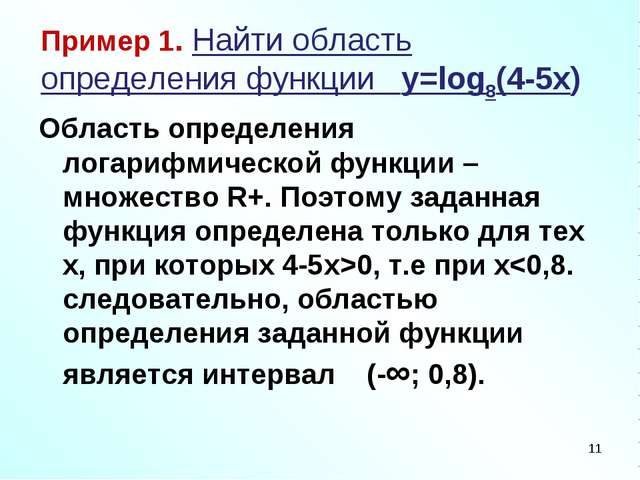 Пример 1. Найти область определения функции y=log8(4-5x) Область определения...