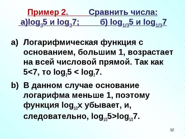 Пример 2. Сравнить числа: а)log35 и log37; б) log1/35 и log1/37 Логарифмическ...