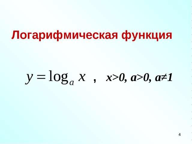 Логарифмическая функция , x>0, a>0, a≠1 *