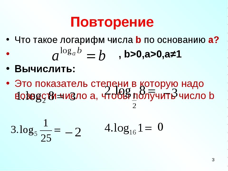 Повторение Что такое логарифм числа b по основанию a? , b>0,a>0,a≠1 Вычислить...