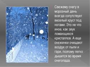Свежему снегу в морозный день всегда сопутствует веселый хруст под ногами. Э