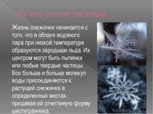 Из чего состоят снежинки. Жизнь снежинки начинается с того, что в облаке водя