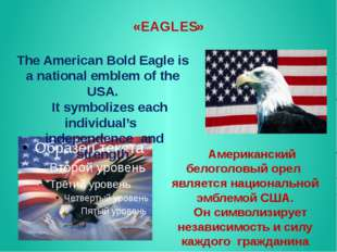 «EAGLES» The American Bold Eagle is a national emblem of the USA. It symboliz