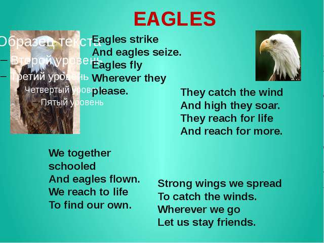 EAGLES Eagles strike And eagles seize. Eagles fly Wherever they please. They...