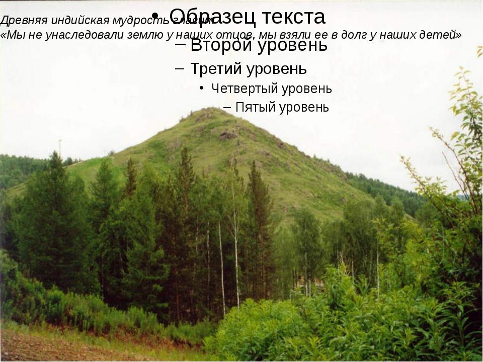 Древняя индийская мудрость гласит «Мы не унаследовали землю у наших отцов, м...